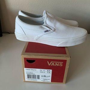 Vans white classic slip on